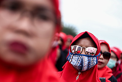 May 1, 2019 - Jakarta, Indonesia - Indonesian workers stand during International Labor Day at a main street of a business district in Jakarta, May 1, 2019. (Credit Image: © Andrew Gal/NurPhoto via ZUMA Press)