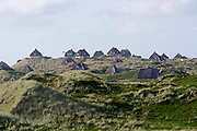 Sylt, Germany. Hörnum. Traditional houses with Reetdächer (reed roofs).