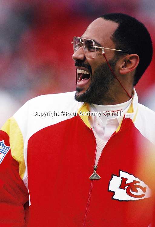 Kansas City Chiefs defensive backs coach Tony Dungy laughs during the NFL AFC Wild Card playoff football game against the Los Angeles Raiders on Dec. 28, 1991 in Kansas City, Mo. The Chiefs won the game 10-6. (©Paul Anthony Spinelli)