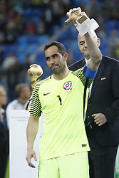 July 3, 2017 - Saint Petersburg, Russia - Claudio Bravo of Chile national team lifts up Golden Glove trophy during award ceremony after FIFA Confederations Cup Russia 2017 final match between Chile and Germany at Saint Petersburg Stadium on July 2, 2017 in Saint Petersburg, Russia. (Credit Image: © Mike Kireev/NurPhoto via ZUMA Press)