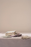 Stack of letters on table