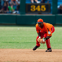 15 February 2009: Shortstop Eduardo Paret is seen during a training game of Cuba Baseball Team for the World Baseball Classic 2009. The national team is pitted against itself, divided in two teams called the Occidentales and the Orientales. The Orientales win 12-8, at the Latinoamericano stadium, in la Habana, Cuba.