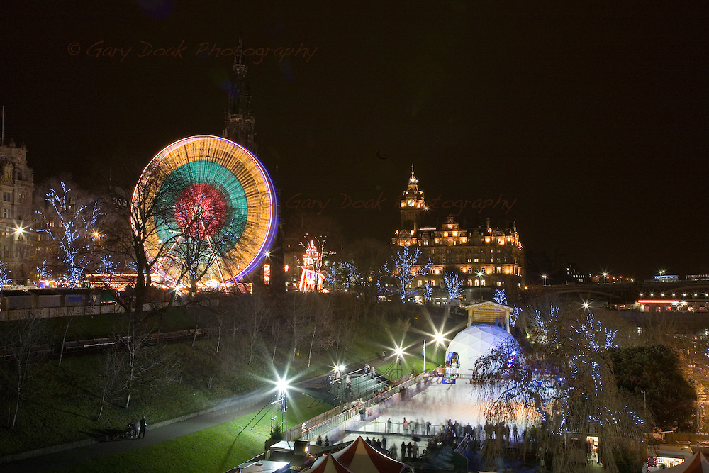 Ferris wheel and ice-rink at the east end of Princes Street,Edinburgh