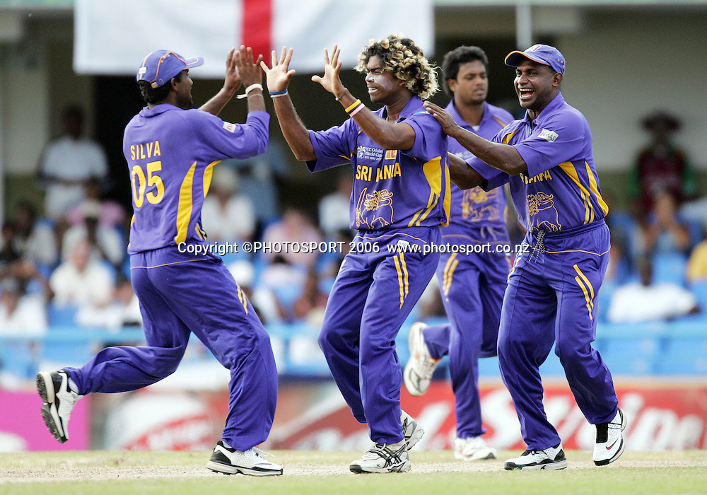 Lasith Malinga celebrates a wicket during the Super 8 Cricket World Cup match, England v Sri Lanka at the Sir Vivian Richards Cricket Ground in Antigua, West Indies on Wednesday 4 April 2007. Sri Lanka batted first, scored 235 and won by 2 runs. Photo: Andrew Cornaga/PHOTOSPORT **NO AGENTS**<br />