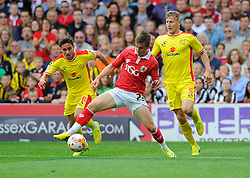 Bristol City's Joe Bryan battles for the ball with Milton Keynes Dons' George Baldock   - Photo mandatory by-line: Joe Meredith/JMP - Mobile: 07966 386802 - 27/09/2014 - SPORT - Football - Bristol - Ashton Gate - Bristol City v MK Dons - Sky Bet League One