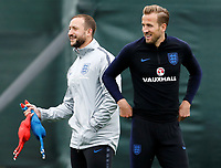 SAINT PETERSBURG, RUSSIA - JULY 10: Harry Kane (R) of England national team during an Englang national team training session ahead of the 2018 FIFA World Cup Russia Semi Final match against Croatia at Stadium Spartak Zelenogorsk on July 10, 2018 in Saint Petersburg, Russia. (MB Media)