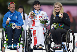 11 / 06 / 2016,  Deirdre Mongan (originally from Milltown, Co. Galway now living in Newcastle, Co. Down), F53 class, Paralympics Ireland Athletics pictured receiving her Bronze Medal at the 2016 IPC Athletic European Championships in Grosseto, Italy