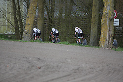 Team Sunweb riders accelerate after a sharp corner during Stage 2 of the Healthy Ageing Tour - a 19.6 km team time trial, starting and finishing in Baflo on April 6, 2017, in Groeningen, Netherlands.