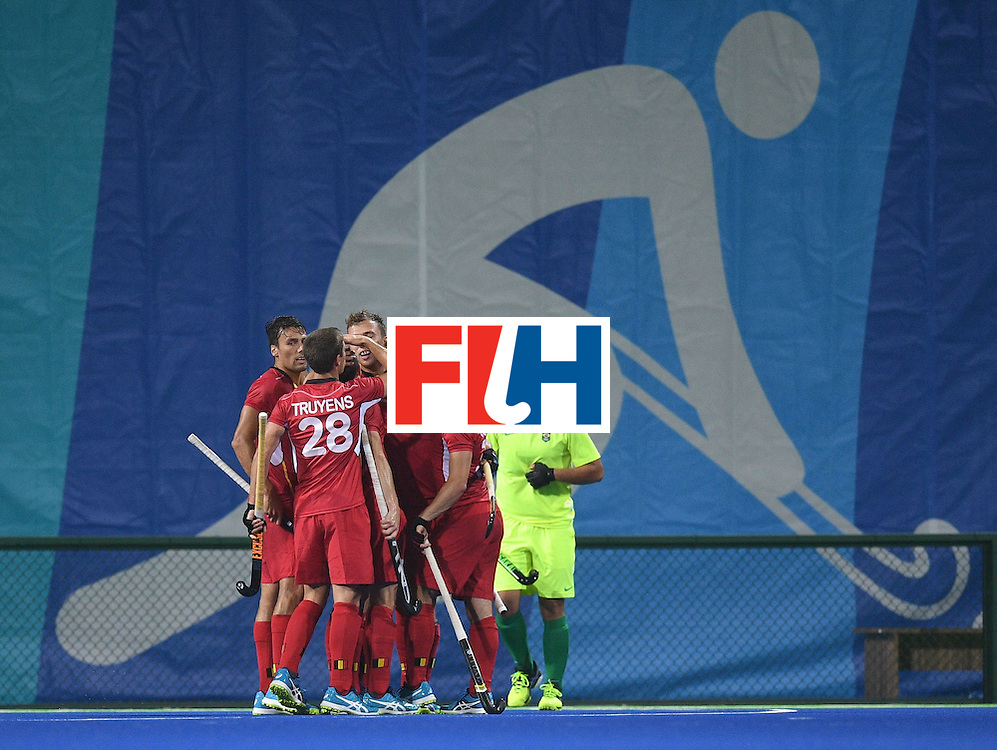 Belgium players celebrate a goal during the men's field hockey Brazil vs Belgium match of the Rio 2016 Olympics Games at the Olympic Hockey Centre in Rio de Janeiro on August, 7 2016. / AFP / MANAN VATSYAYANA        (Photo credit should read MANAN VATSYAYANA/AFP/Getty Images)