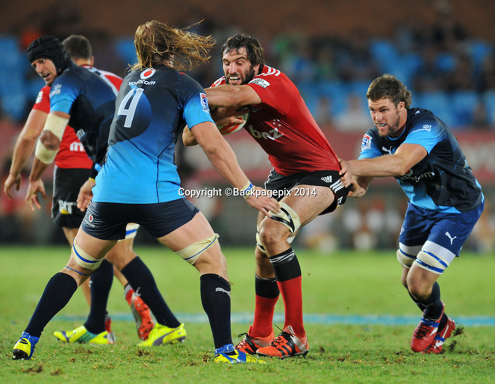 Sam Whitelock of the Crusaders during the 2015 Super Rugby rugby match between the Bulls and the Crusaders at the Loftus Versfeld Stadium in Pretoria, South Africa on March 28, 2015 ©Samuel Shivambu/BackpagePix