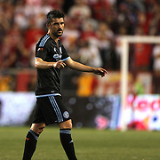 David Villa, NYCFC, is substituted during the New York Red Bulls Vs NYCFC, MLS regular season match at Red Bull Arena, Harrison, New Jersey. USA. 10th May 2015. Photo Tim Clayton
