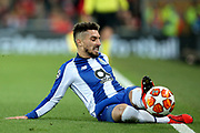 scores a goal 1-3 tries to keep the ball in play during the Champions League Quarter-Final Leg 1 of 2 match between Liverpool and FC Porto at Anfield, Liverpool, England on 9 April 2019.