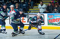 KELOWNA, CANADA - APRIL 30: Nolan Volcan #26 of the Seattle Thunderbirds checks Reid Gardiner #23 of the Kelowna Rockets on April 30, 2017 at Prospera Place in Kelowna, British Columbia, Canada.  (Photo by Marissa Baecker/Shoot the Breeze)  *** Local Caption ***