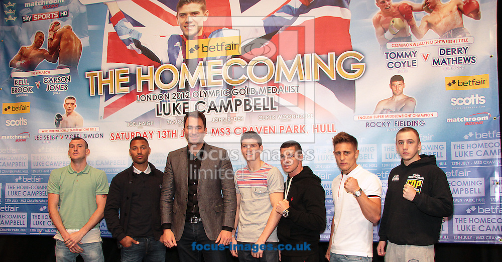 Picture by Richard Gould/Focus Images Ltd +44 7855 403186<br /> 22/06/2013<br /> Group shot of all the fighters on the card pictured during a press conference at Hull City Hall.
