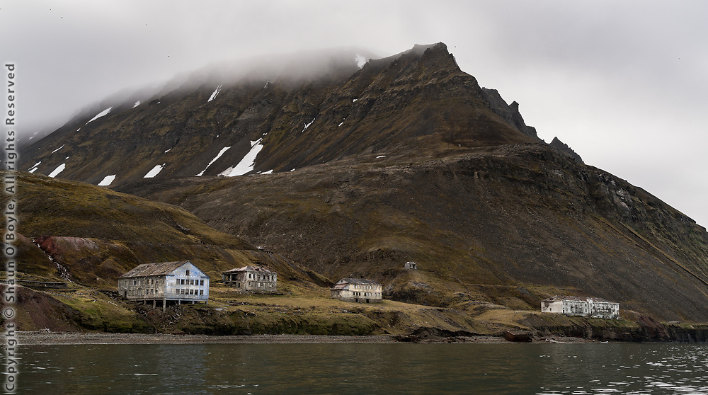 Abandoned town of Grumant, once the largest coal mining settlement on Spitsbergen