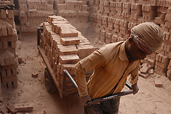 February 6, 2018 - Dhaka, Bangladesh - A Seasonal brick field laborer drags a cart full of bricks to a whore house as their works on dust at a brick factory in the outskirts of Dhaka. (Credit Image: © Md. Mehedi Hasan via ZUMA Wire)