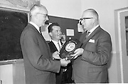 16/09/1968<br /> 09/16/1968<br /> 16 September 1968<br /> Presentation by National Savings Committee of Merit Award plaques to Principals of Taney N.S., Dundrum; St. Peter's Boys N.S., Bray, Co. Wicklow and Inchicore N.S., Dublin. Picture shows (l-r): Mr Sean O Muireadhaigh, Principal of St. Peter's N.S.; Mr Conall Ó Cuinneagáin,Treasurer of the Savings Committee and Mr H.E.F. Hall, Chairman, National Savings Committee.