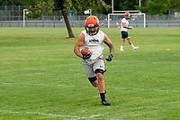 KELOWNA, BC - MAY 10:  Okanagan Sun receiver Kian Ishani runs with the ball during main camp at the Apple Bowl on July 12, 2019 in Kelowna, Canada. (Photo by Marissa Baecker/Shoot the Breeze)