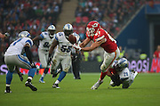 Kansas City Chiefs Travis Kelce juggling with the ball during the Kansas City Chiefs v Detroit Lions  NFL International Series match at Wembley Stadium, London, England on 1 November 2015. Photo by Matthew Redman.