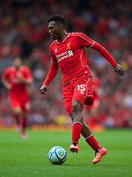 LIVERPOOL, ENGLAND - Sunday, August 10, 2014: Liverpool's Daniel Sturridge in action against Borussia Dortmund during a preseason friendly match at Anfield. (Pic by David Rawcliffe/Propaganda)