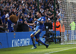Leonardo Ulloa of Leicester City (C) celebrates scoring his sides second goal from the penalty spot - Mandatory by-line: Jack Phillips/JMP - 17/04/2016 - FOOTBALL - King Power Stadium - Leicester, England - Leicester City v West Ham United - Barclays Premier League