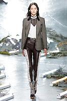 Mona Matsuoka (IMG New York) walks the runway wearing Rodarte Fall 2015 during Mercedes-Benz Fashion Week in New York on February 17, 2015