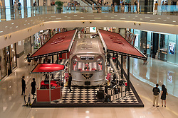 July 4, 2018 - Shanghai, Shanghai, China - Shanghai, CHINA- The silver 'Prada Train' can be seen at a shopping mall in Shanghai,China. The silver 'train' is a pop-up store of Prada. (Credit Image: © SIPA Asia via ZUMA Wire)
