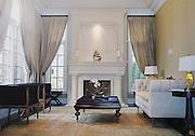Upscale, residential den, sunroom.