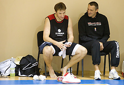 Matjaz Smodis of Slovenia, Roman Horvat  during practice session of Slovenia National basketball team at Eurobasket Lithuania 2011, on September 7, 2011, in Mykolo Romeris University,  Vilnius, Lithuania. (Photo by Vid Ponikvar / Sportida)
