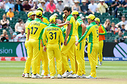 Wicket - Mitchell Starc of Australia celebrates taking the wicket of Mohammad Shahzad (wk) of Afghanistan during the ICC Cricket World Cup 2019 match between Afghanistan and Australia at the Bristol County Ground, Bristol, United Kingdom on 1 June 2019.