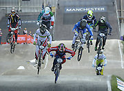 Mens Elite Heat 1 at BMX World Cup Finals at  at the Manchester Arena, Manchester, United Kingdom on 19 April 2015. Photo by Charlotte Graham.