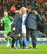 Blackburn Rovers Defender, Grant Hanley is escorted off after being injured during the Sky Bet Championship match between Blackburn Rovers and Sheffield Wednesday at Ewood Park, Blackburn, England on 28 November 2015. Photo by Mark Pollitt.