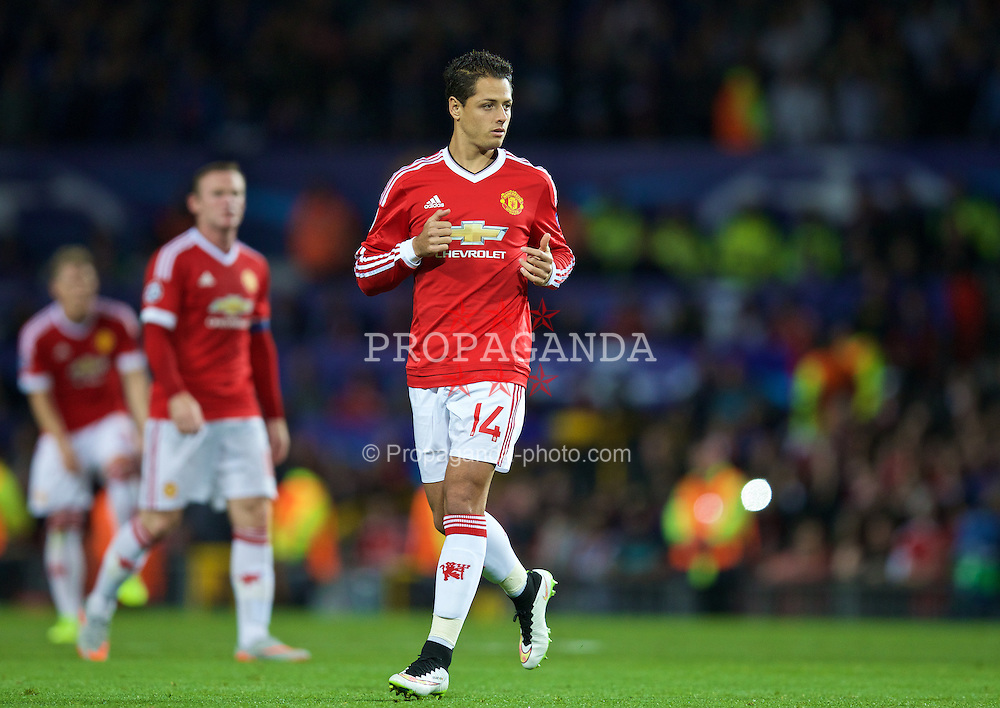 MANCHESTER, ENGLAND - Tuesday, August 18, 2015: Manchester United's Javier Hernandez in action against Club Brugge during the UEFA Champions League Play-Off Round 1st Leg match at Old Trafford. (Pic by David Rawcliffe/Propaganda)