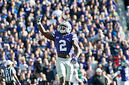 D.J. Reed, sophomore defensive back, celebrates after a tackle against KU during the Wildcats game Saturday Nov. 26, 2016 at Bill Snyder Family Stadium. The Cats won 34-19. (Evert Nelson   The Collegian)