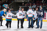 KELOWNA, CANADA - NOVEMBER 30: The BMO ultimate fans stand on the ice during first intermission between the Kelowna Rockets and the Kamloops Blazers on November 30, 2013 at Prospera Place in Kelowna, British Columbia, Canada.   (Photo by Marissa Baecker/Shoot the Breeze)  ***  Local Caption  ***