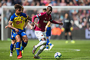 Mario Lemina (Southampton) & Pedro Obiang (West Ham) during the Premier League match between West Ham United and Southampton at the London Stadium, London, England on 4 May 2019.
