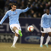 Andrew Jacobson , NYCFC, in action during the New York City FC Vs Sporting Kansas City, MSL regular season football match at Yankee Stadium, The Bronx, New York,  USA. 27th March 2015. Photo Tim Clayton