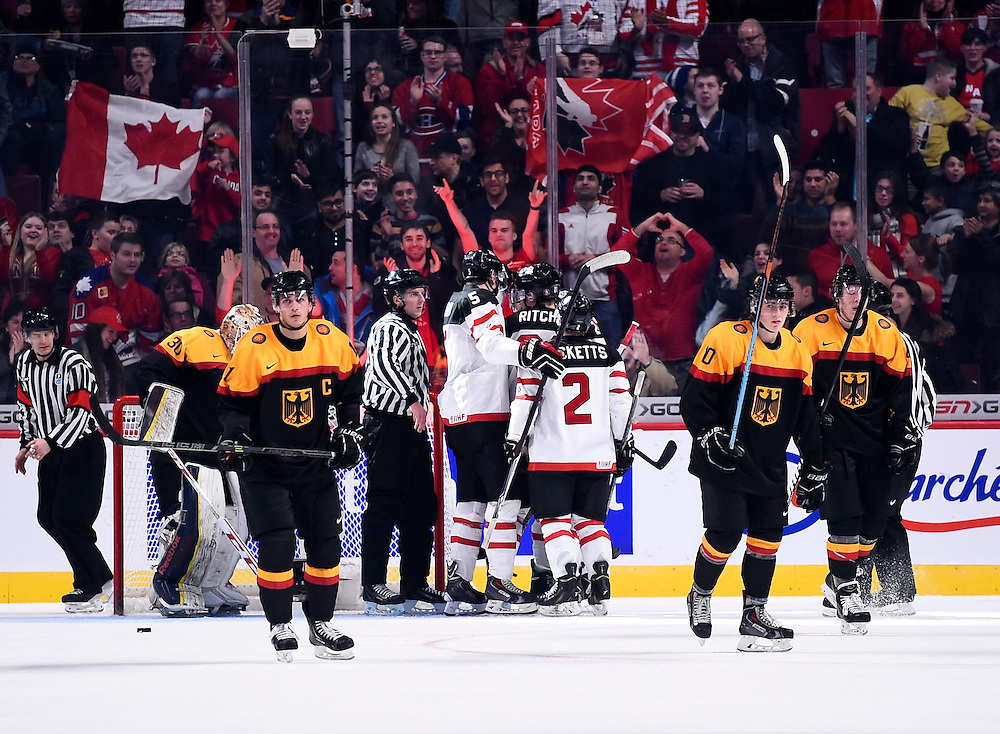 Team Canada defeated Germany 4-0 at the 2015 World Junior Championships on Saturday Dec. 28 at the Bell Centre in Photo by Aaron Bell/CHL Images