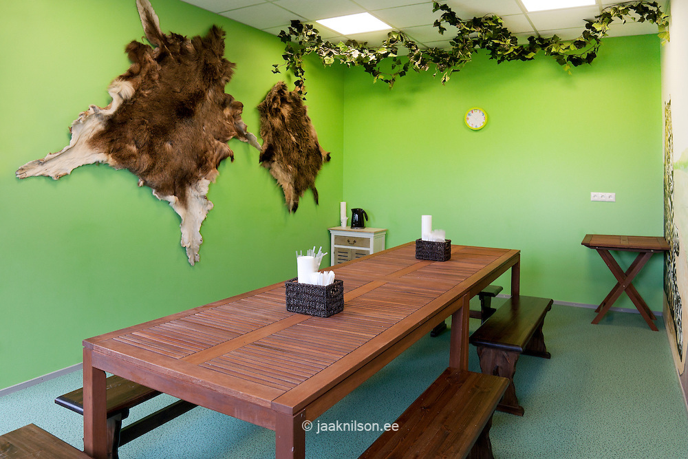 Safari theme children's party room with table and benches in Viimsi spa hotel in Estonia