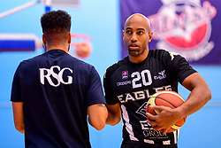 Lewis Champion of Bristol Flyers greets Fabulous Flournoy of Newcastle Eagles - Photo mandatory by-line: Ryan Hiscott/JMP - 03/11/2018 - BASKETBALL - SGS Wise Arena - Bristol, England - Bristol Flyers v Newcastle Eagles - British Basketball League Championship