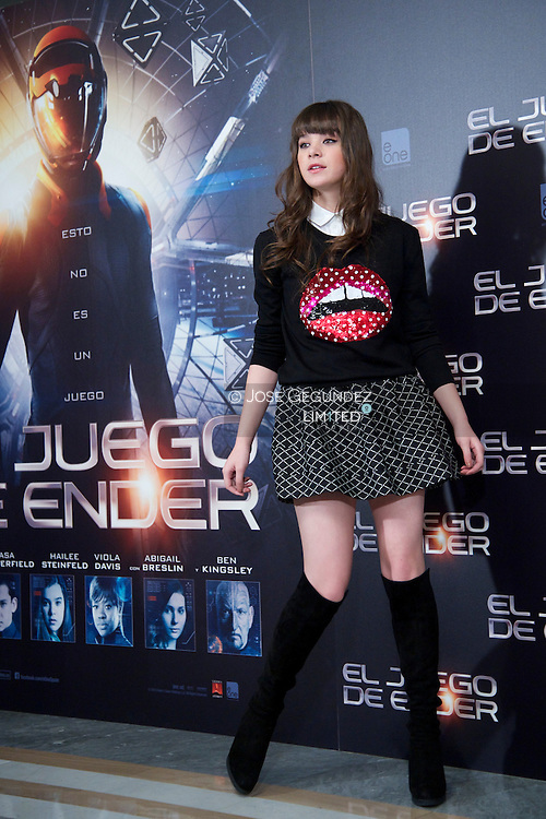 Hailee Steinfeld attends 'Ender's Game'  photocall at Villamagna Hotel on October 3, 2013 in Madrid
