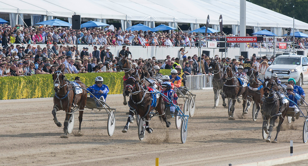 Ardern Rooney driven by Kerryn Manning, centre, wins the New Zealand Trotting Cup at the New Zealand Trotting Cup Day, Addington Raceway, Christchurch, New Zealand, Tuesday, 10 November, 2015.<br /> Credit:SNPA / David Alexander