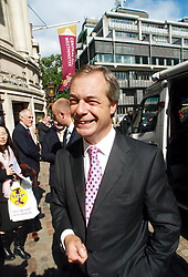 The UKIP leader Nigel Farage outside London's Central Hall after his speech on party policies and the European Union, Central Hall, Westminster, London, United Kingdom. Friday, 20th September 2013. Picture by Max Nash / i-Images