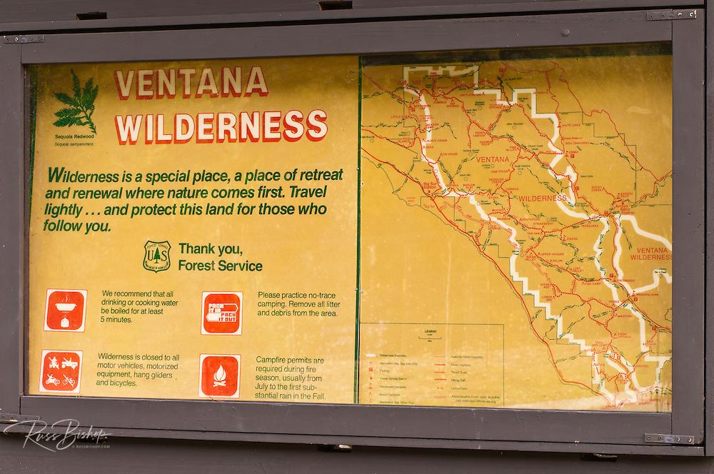 Ventana Wilderness map, Big Sur, California