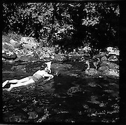 20/06/1957<br /> 06/20/1957<br /> 20 June 1957<br /> <br /> The River Liffey at Kilbride, Co. Wicklow (Ruth Kelly and Dog)