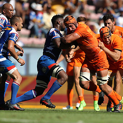 Siya Kolisi (captain) of the DHL Stormers looks to tackle Tomas Lavanini of the Jaguares during the Super Rugby match between the DHL Stormers and the Jaguares at the DHL Newlands Stadium Cape Town South Africa. 17,February 2018 (Photo by Steve Haag/UAR)