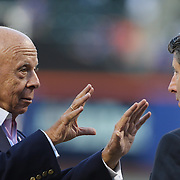 Saul Katz, (left), President of the New York Mets and Jeff Wilpon at batting practice before the New York Mets Vs Los Angeles Dodgers, game four of the NL Division Series at Citi Field, Queens, New York. USA. 13th October 2015. Photo Tim Clayton