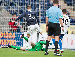 Morton's keeper Derek Gaston saves Falkirk's Rory Loy follow up after his penalty miss.<br /> halt time ; Falkirk 0 v 1 Morton, Scottish Championship game today at The Falkirk Stadium.<br /> &copy; Michael Schofield.