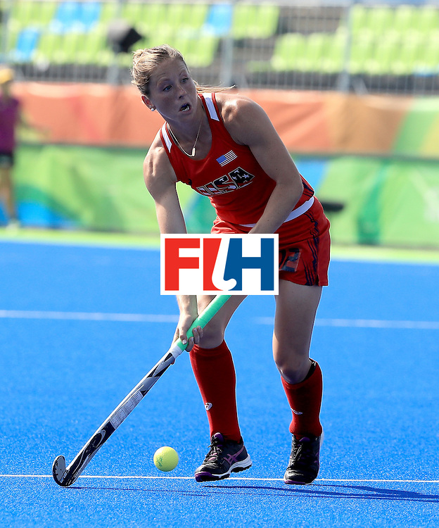 RIO DE JANEIRO, BRAZIL - AUGUST 15:  Julia Reinprecht #12 of the United States attempts a shot in a quarterfinal match against Germany at the Olympic Hockey Centre on August 15, 2016 in Rio de Janeiro, Brazil.  (Photo by Sam Greenwood/Getty Images)