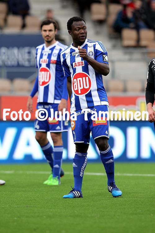 19.4.2015, Sonera stadion, Helsinki.<br /> Veikkausliiga 2015.<br /> Helsingin Jalkapalloklubi - FC Lahti..<br /> Gideon Baah - HJK